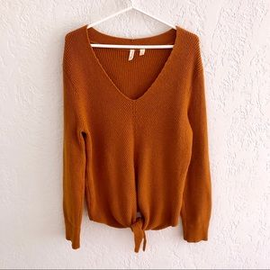 Anthropologie Moth Burnt Orange V-Neck Sweater L